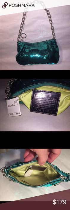 NWT COACH Ltd Edition kelly green sequinned bag NEW WITH TAGS ATTACHED - limited edition Coach sequinned satin evening bag with ball-chain-link strap Coach Bags Shoulder Bags
