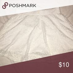 White lace (ish) skirt Only been worn once. Goes to about mid thigh! Aeropostale Skirts Midi