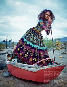 The Fiesta Of Solitude: Malaika Firth in Valentino for Vogue Japan July 2014 by Emma Summerton