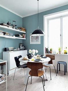 I love this wall color - we could do something like this in the kitchen, then a lighter/softer version in the dr/lr.  Your cabinets would POP!