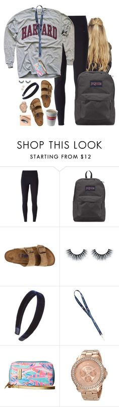 """""""Comfy for Wednesday"""" by aweaver-2 ❤ liked on Polyvore featuring NIKE, JanSport, Birkenstock, L. Erickson, Lilly Pulitzer, Juicy Couture and Honora"""