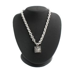 """Trinity of Angels Engraved White Gold GP 18"""" Necklace 027O+Black Diamond #TrinityofAngels #Chain"""