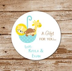 Set of 12 Baby Safari  Personalized Gift by CelebrateLilThings