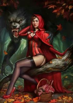 Red Riding hood and the big bad wolf.