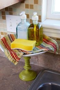 dish soap cake stand. Made from a candlestick and plate. Fabulous.