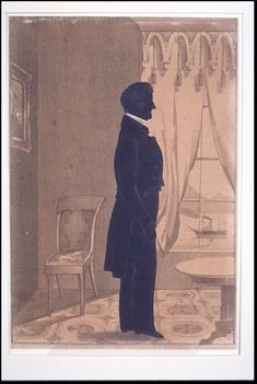Fig. 3. Example of a cut-out silhouette. Samuel Metford (United States, 1810-1890), Thomas Goddard (1765-1858). Cut-out full-figure silhouette from matte black coated white wove paper with graphite, opaque watercolor and white paper insert (collar) mounted to a lithograph. Bequest of Maxim Karolik, Museum of Fine Arts, Boston, 1964.1139.