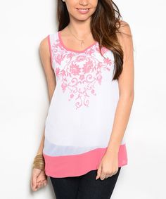 Loving this White & Coral Embroidered Silk-Blend Top on #zulily! #zulilyfinds