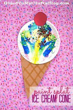 Paint Splat Ice Cream Cones - Summer Themed Kid Craft Idea #gluedtomycrafts