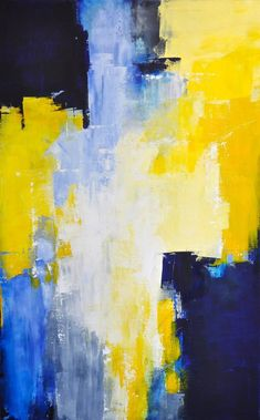 "48"" x 30"" Abstract acrylic painting Deep 1 1/2"" canvas Sides are painted black, staple free, ready to hang. Signed and dated on the back. This large abstract painting has been done in shades of cobalt blue, sky blue, sapphire blue, soft yellow, sunshine yellow, white, gray, and ultramarine blue. Finished in gloss varnish. Gorgeous colors and a great contemporary design with incredible depth. Beautiful large vivid piece."