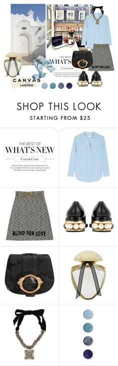 """""""El inmenso océano."""" by nataal ❤ liked on Polyvore featuring Lands' End, Equipment, Gucci, Nicholas Kirkwood, Roberto Cavalli, Bulgari, Lanvin and Terre Mère"""