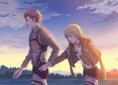 I don't know why, but I like the thought of this being the end of AoT, everybody except Jean and Armin died during the maybe last fight against the titans and the two are running into the unknown, hoping they might be able to survive somehow... (Well, this just came to my mind ^^)