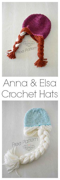 Anna & Elsa Crochet Hats free pattern DIY homemade frozen Disney let it go princess dress up Crochet Gratis, Cute Crochet, Crochet For Kids, Knit Crochet, Crocheted Hats, Love Knitting, Knitting Patterns, Crochet Patterns, Hat Patterns