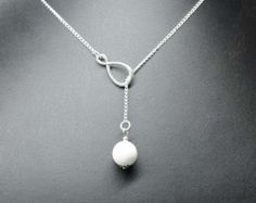 Pearl Lariat Necklace Freshwater Pearl Necklace by GlassPalaceArts