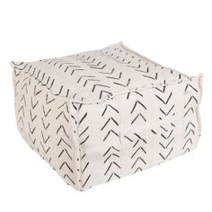 House of Cindy White Mudcloth Pouf 5367