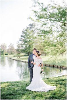 Rose Hill Plantation Wedding | Elegant outdoor bride and groom portraits by pond | sunset wedding photos