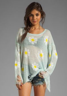Wildfox Couture White Label Daisy Fest Lennon Sweater in Mall Fountain from REVOLVEclothing.com
