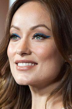 Still doing your cat eyes in basic black? Get inspired by Olivia Wilde's bold blue eyeliner: http://beautyeditor.ca/2013/12/16/olivia-wilde-makeup-eyes/