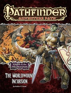 Pathfinder Adventure Path #73: The Worldwound Incursion (Wrath of the Righteous 1 of 6) (PFRPG) | Book cover and interior art for Pathfinder Roleplaying Game - PFRPG, 3rd Edition, 3E, 3.x, 3.0, 3.5, 3.75, Role Playing Game, RPG, Open Game License, OGL, Paizo Inc. | Create your own roleplaying game books w/ RPG Bard: www.rpgbard.com | Not Trusty Sword art: click artwork for source