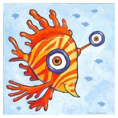 Wild Fish art by FFrank. Ocean Aquarium, Fish Artwork, Frank Ocean, Happy Art, Colorful Fish, Red Fish, Yellow Stripes, Rooster, Artist