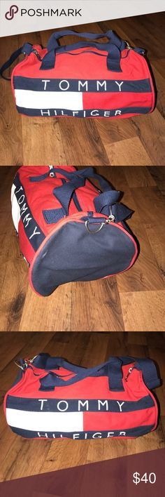 Vintage Tommy Hilfiger Spell Out Canvas Duffle Bag 14.5 inches long and 8 inches tall Tommy Hilfiger Accessories