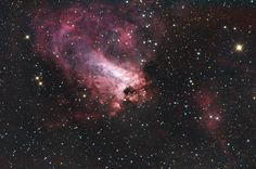 NGC 6618 - Swan Nebula (M17)  is an H II region in the constellation Sagittarius. It was discovered by Philippe Loys de Chéseaux in 1745. Charles Messier catalogued it in 1764. It is located in the rich starfields of the Sagittarius area of the Milky Way.