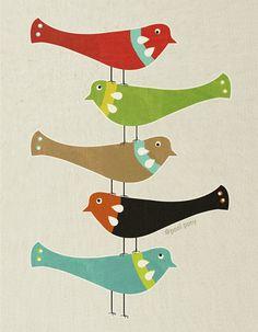 bird stack art print by poolponydesign