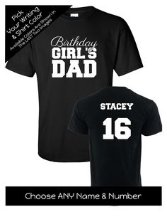Birthday Girl's Dad with Script Writing Shirt - Personalize the Name, Age and Colors - Birthday Party Matching Shirts by MagicalMemoriesbyJ on Etsy Family Birthday Shirts, Family Birthdays, Script Writing, Matching Shirts, Girl Birthday, Colorful Shirts, Dads, Group, Trending Outfits