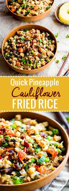 Quick, easy, and protein packed Pineapple Paleo Cauliflower Fried Rice ! A sweet and spicy paleo cauliflower fried rice dish made in under 15 minutes! It's healthy, lower in carbs than regular fried rice, and SUPER EASY! @cottercrunch