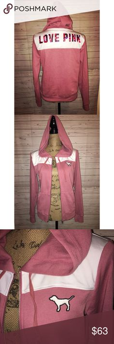 VS Pink full zip hoodie jacket Begonia in color! Says love pink on the upper back in Floral print! PINK Victoria's Secret Sweaters