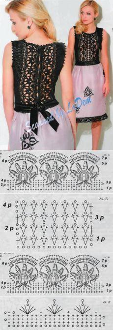 O gancho vestido espetacular. Knitting + tecido