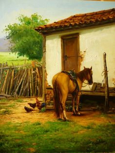 DOUGLAS OKADA -  Vida no sítio  - Óleo sobre tela - 60 x 80     Há um grande número de ótimos artistas realistas no interior do estado d...