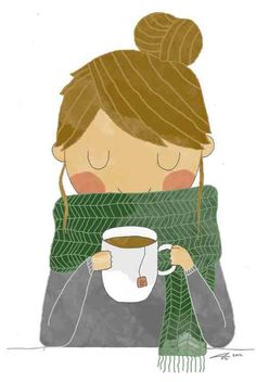 A pretty scarf and a hot cup of tea...what else do you need?