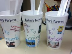 A great way to practice identifying author's purpose. I decorated each cup with… 3rd Grade Writing, First Grade Reading, Kids Writing, Third Grade, Reading Lessons, Reading Skills, Teaching Reading, Reading Strategies, Authors Purpose Activities