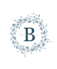 'Monogram B Pretty Pastel Blue Leaves' Sticker by floralmonogram B Letter Images, Letter B, Pretty Pastel, Pastel Blue, E Letter Design, Wallpaper B, Iphone Wallpaper Tumblr Aesthetic, Floral Logo, Blue Leaves
