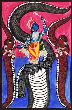 Kaliya Daman by Lord Krishna - Bengal Folk Art or Kalighat Painting Madhubani Art, Madhubani Painting, Krishna Art, Lord Krishna, Bengali Art, Indian Folk Art, India Art, Traditional Paintings, Sacred Art