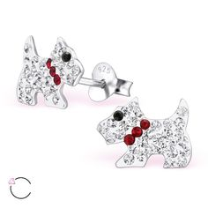 Crystal terrier: kid's silver stud earrings with #Swarovski elements. #Wholesale price is $5.67 US for pair.
