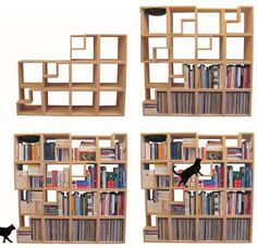 For your furry companion: Thus, the Cat Library – a place to climb, play and relax for furry companions, but also a great way to store books as well in the same vertical space. Being fully modular, one could construct it as tall as desired (with safety in mind, of course) or leave a low stack with the cat bed unit on the second or third levels.