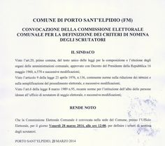 Movimento 5 Stelle Porto Sant'Elpidio: CONVOCAZIONE COMMISSIONE ELETTORALE COMUNALE 28-03...