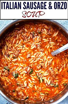 This One Pot Sausage and Orzo Soup with Spicy Italian Sausage, Orzo Pasta with r. This One Pot Sausage and Orzo Soup with Spicy Italian Sausage, Orzo Pasta with rich tomato flavour Orzo Recipes, Healthy Soup Recipes, Cooking Recipes, Recipes With Tomato Soup, Recipes With Sausage, Simple Soup Recipes, Tomato Recipe, Giada De Laurentiis, Italian Sausage Soup