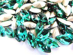 Kristall Cabochons, Pferdeauge, silberfarben plattiert, dunkelgrün, 17x32mm