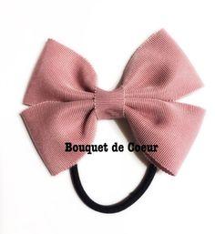 #107ローズピンク♡オフィスリボンヘアゴム  Handmade pink ribbon hair accessory