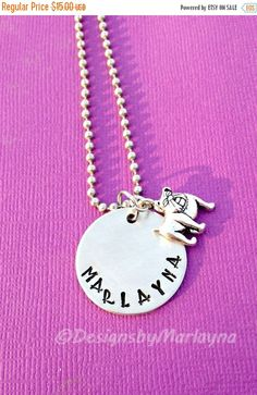 Name Necklace, Bulldog Charm, School Mascot, Hand Stamped Necklace, Graduation Gift, Mother's Day Gift, Animal Lover, Class of 2015