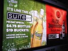 Suite 69 took advantage of ThinkTANK's Mobile Showroom's illuminated panels for a striking mobile ad campaign at night, when bars are at their busiest. #mobileads #outdooradvertising #mobileadvertising #alternativeadvertising