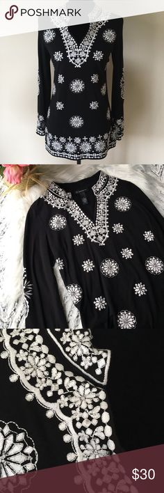 """INC Small Black Tunic with White Embroidery Beautiful black tunic with a slight bell sleeves.  27"""" long, 17"""" armpit to armpit measured flat.  Beautiful white embroidery with tiny clear beading.  Excellent condition. INC International Concepts Tops Tunics"""