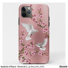 Symbols of Peace - Doves & Cherry Blossom Painting Case-Mate iPhone Case