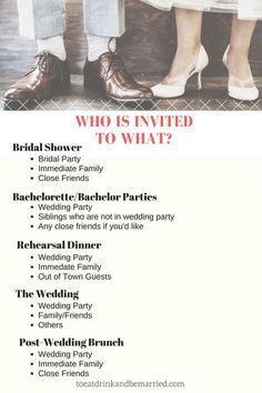 Who Is Invited To What Wedding Event? To Eat Drink and be Married. Wedding planning tips and tricks. Source by The post Who Is Invited To What Wedding Event? To Eat Drink and be Married. Wedding plann& appeared first on Wedding Planning. Post Wedding, Plan Your Wedding, Budget Wedding, Wedding Day, Dream Wedding, Wedding Stuff, Wedding Punch, Wedding Reception, Wedding Guest List