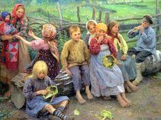 Children With Sunflowers - Fedot Vasilievich Sychkov (1870-1958)