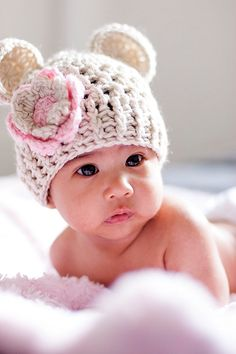 Baby Girl Crochet Hat, Crochet Baby Hat, Beanie Hat with ears and Flower
