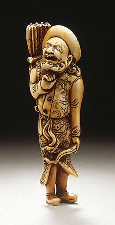 European Archer, 18th century  Netsuke, Ivory with staining, sumi,