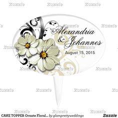 CAKE TOPPER Ornate Floral Flourish   white